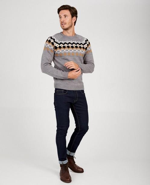 Grijze trui met patroon van wolmix - met wit, beige en zwart - Quarterback