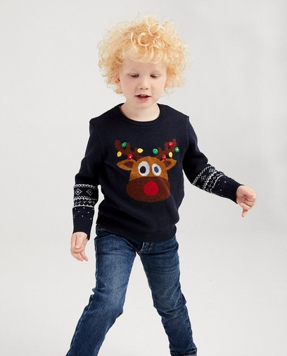 Pull renne bleu fin tricot, 2-7 ans