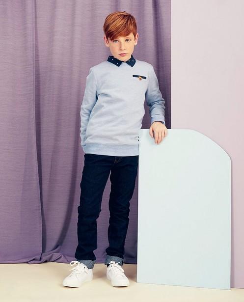 Blauwe sweater Communie - met microprint - kidz