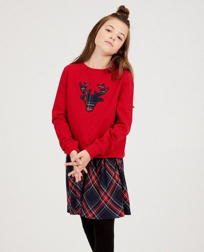 Roter Rentier-Sweater, 7-14 Jahre