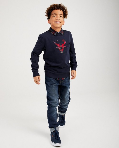 Blauwe rendier-sweater, 7-14 jaar - met ruitpatroon - JBC