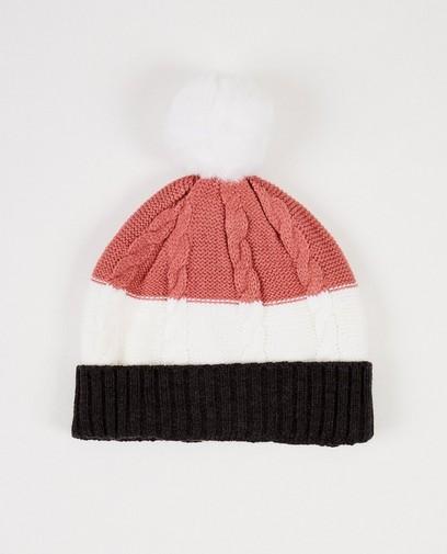 Rosa Mütze mit Streifen