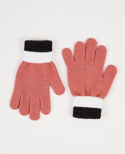 Rosa Handschuhe mit Streifen