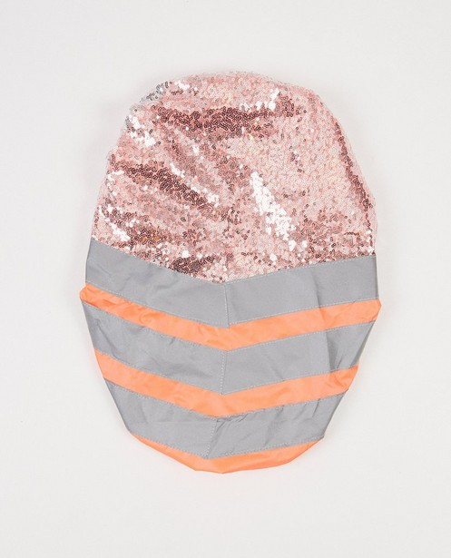 Roze rugzakcover met pailletten - en reflecterende strepen - JBC