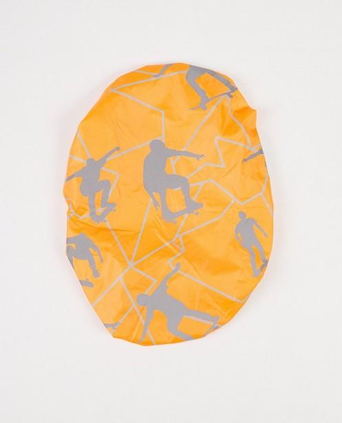 Oranje rugzakcover met print - reflecterende print - JBC