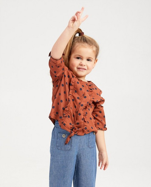 Hemden - Roestbruine blouse met stippen