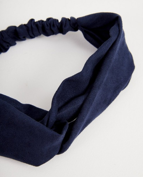 Donkerblauwe haarband van fluweel - met elastiek - JBC