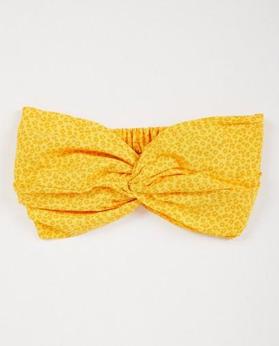 Gele haarband met luipaardprint