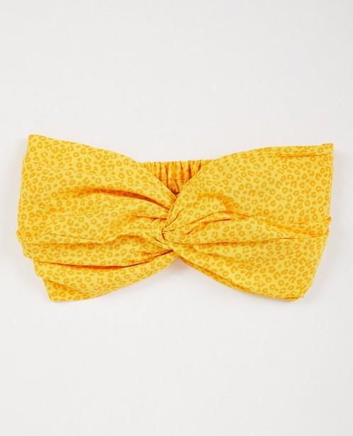 Breigoed - AO1 - Gele haarband met luipaardprint