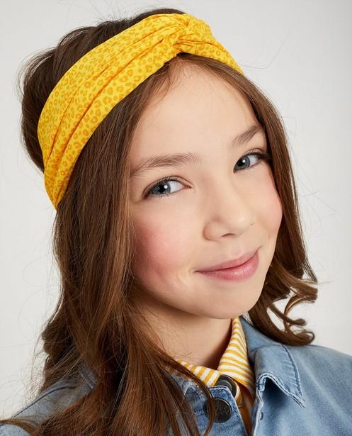 Gele haarband met luipaardprint - geknoopt - fish