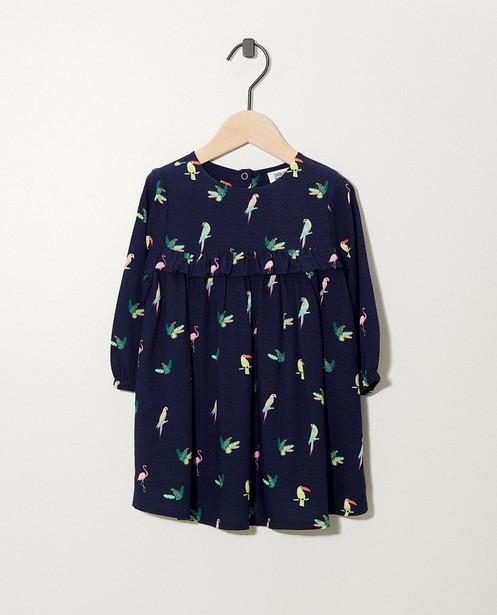 Blaues Kleid mit Vogelprint - aus Viskose - cudd