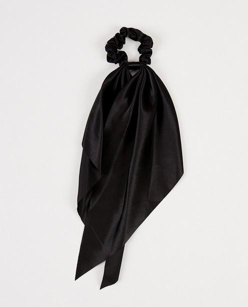 Zwarte scrunchie met linten - Glanzend - JBC