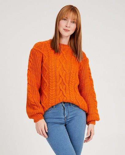 Oranje trui met kabelpatroon Sora