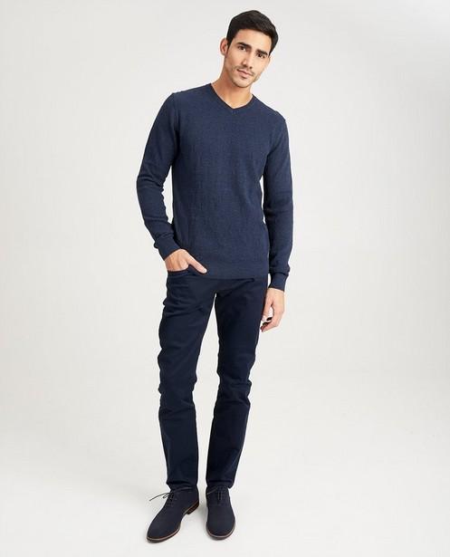 Donkerblauwe trui met patroon - gebreid - Iveo