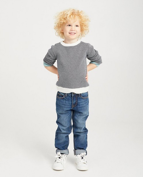 Pull à motif bleu et blanc - fin tricot - kidz