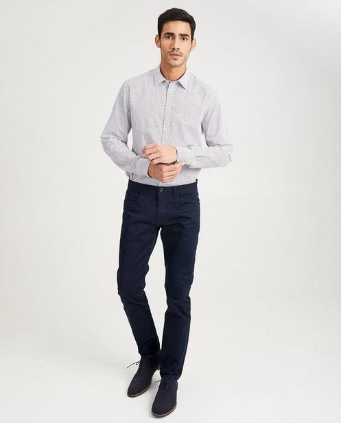 Wit hemd met print - slim fit - Iveo