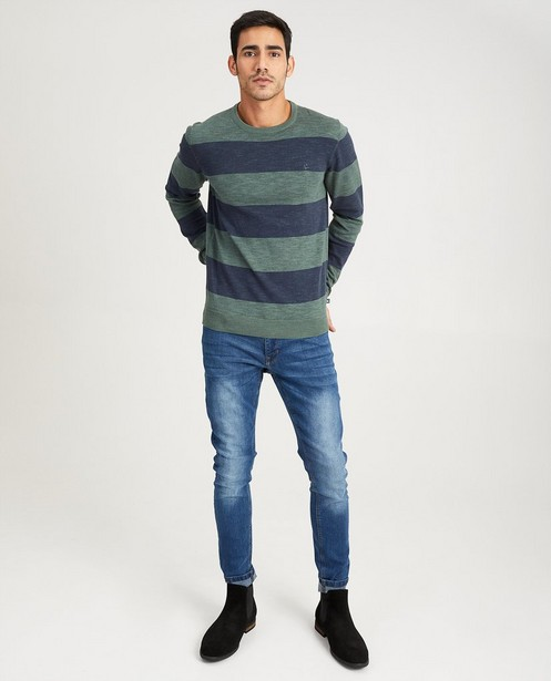 Blauwe trui met strepen - van fijne tricot - Quarterback