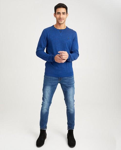Blauwe trui met roestbruine boord - gemêleerd - Quarterback