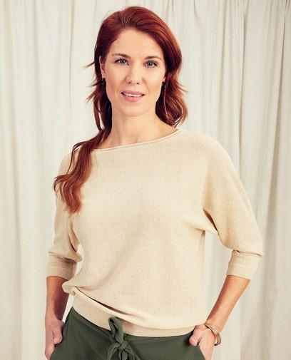 Beige blouse met metaaldraad Sora