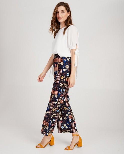 Pantalon bleu, imprimé imposant - à jambes larges - abxl