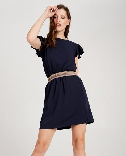 Robe bleue avec bande colorée