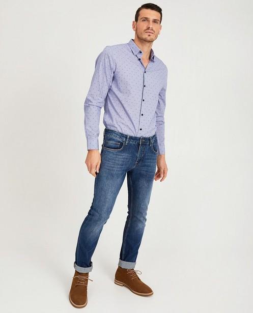 Lichtblauw hemd met print - allover print - Iveo