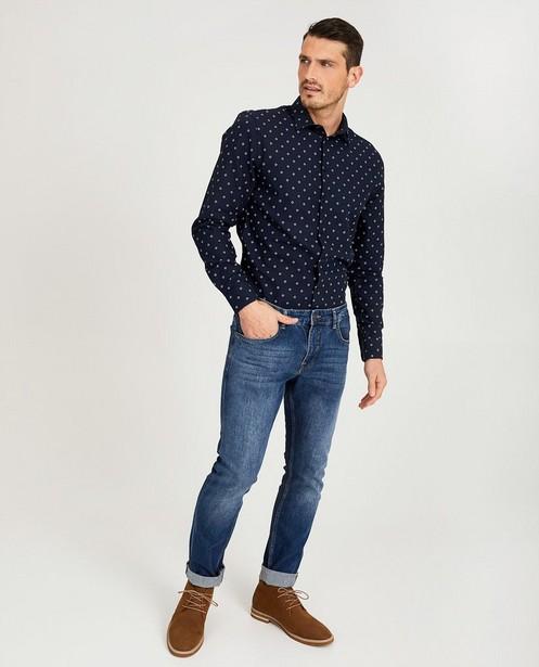 Lichtblauw hemd met print - vierkantjes - Iveo