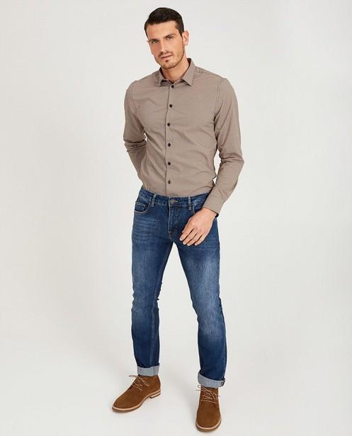 Blauw hemd met print - ruitjes en stippen - Iveo