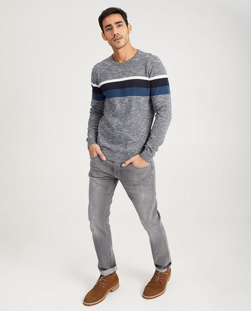 Gestreepte trui van fijne tricot - in grijs - Quarterback