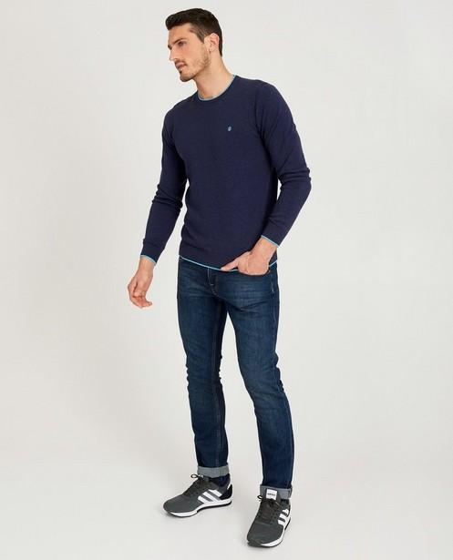 Donkerblauwe trui van tricot - met lichtblauwe boord - JBC
