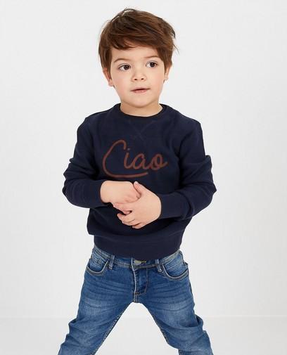 Donkerblauw trui met print BESTies