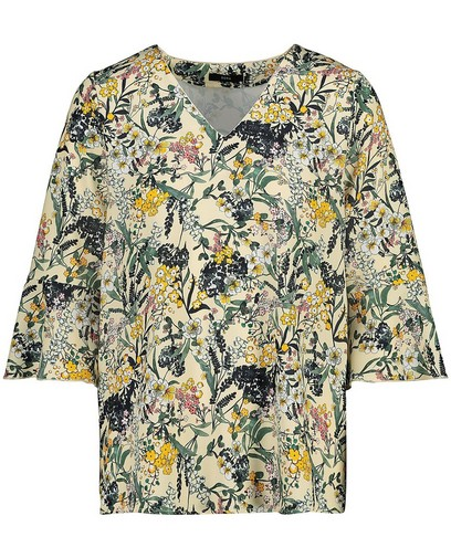 Gele blouse met bloemenprint Sora