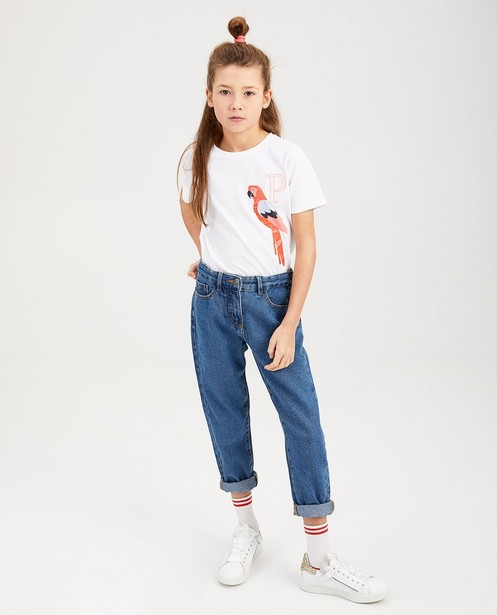 T-shirt bleu, flamant rose - imprimé à paillettes - fish