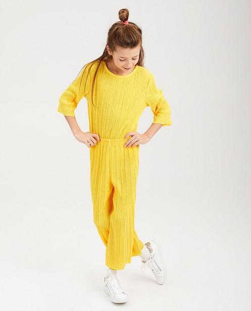 Gele jumpsuit - met plissé - fish