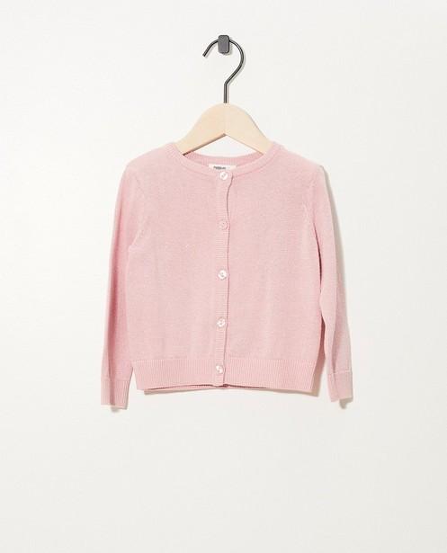 Cardigan rose avec fil métallisé - fin tricot - cudd