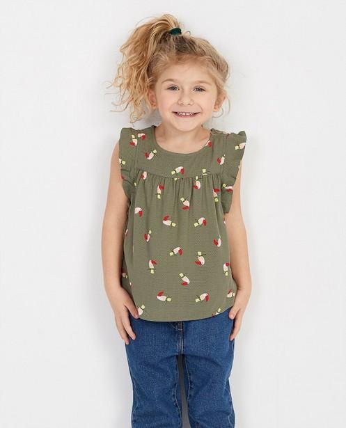Hemden - Kakigroene top met print