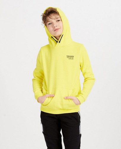 Gele hoodie met opschrift