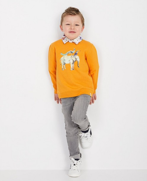 Oranje sweater met print - null - kidz