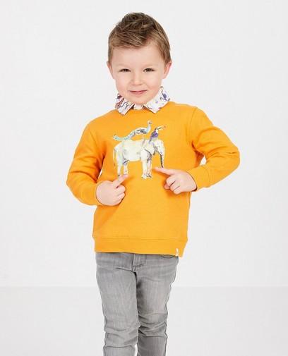 Oranje sweater met print