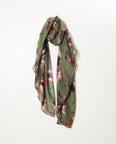 Kaki sjaal bloemenprint Pieces