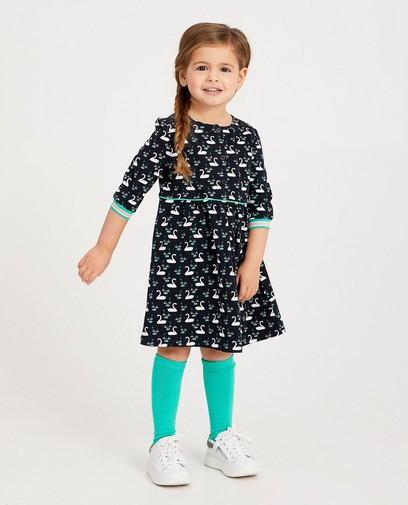 Donkerblauwe jurk met print
