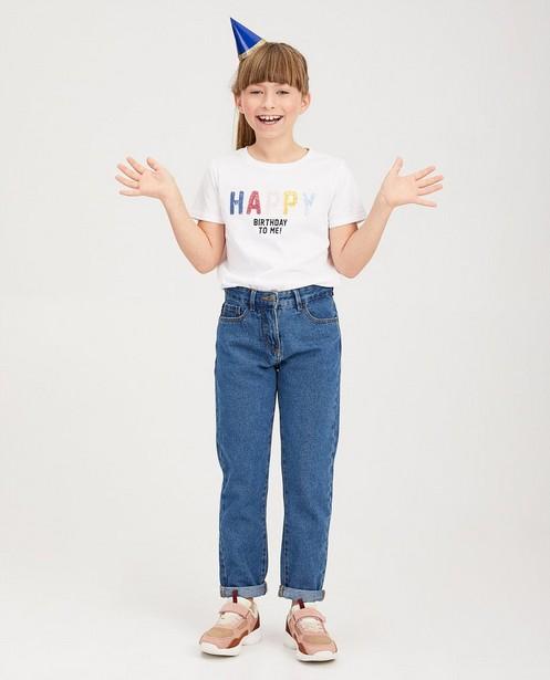 T-shirt blanc d'anniversaire - inscription à paillettes - fish