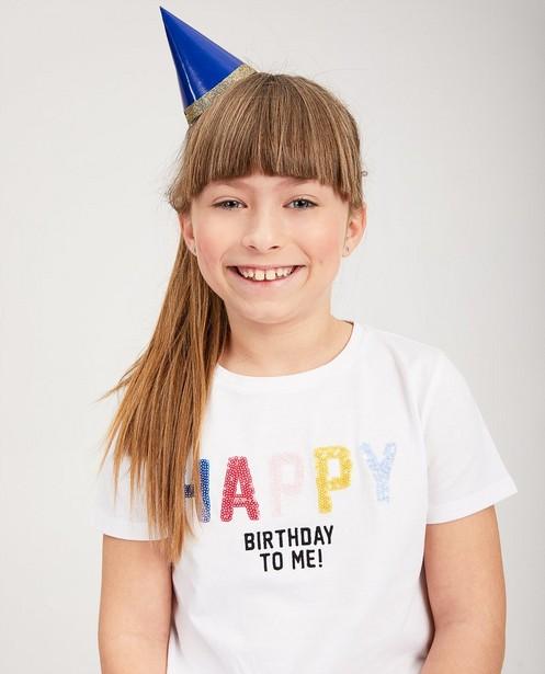 T-shirts - Wit verjaardagsshirt met opschrift