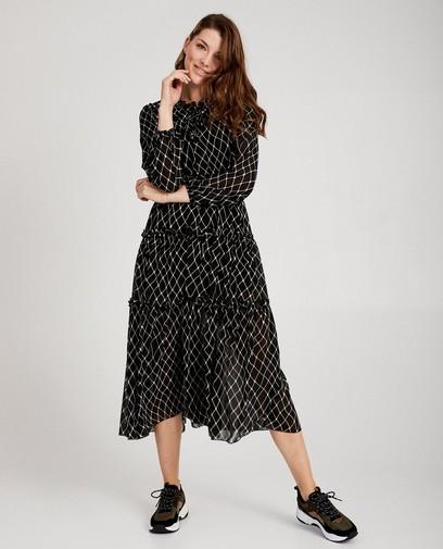 Zwarte maxi-jurk print Ella Italia