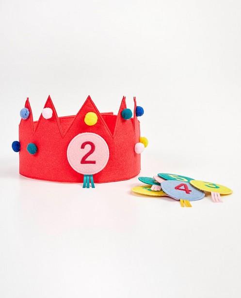 Felroze verjaardagskroon, 2-8 jaar - met patches - Milla Star