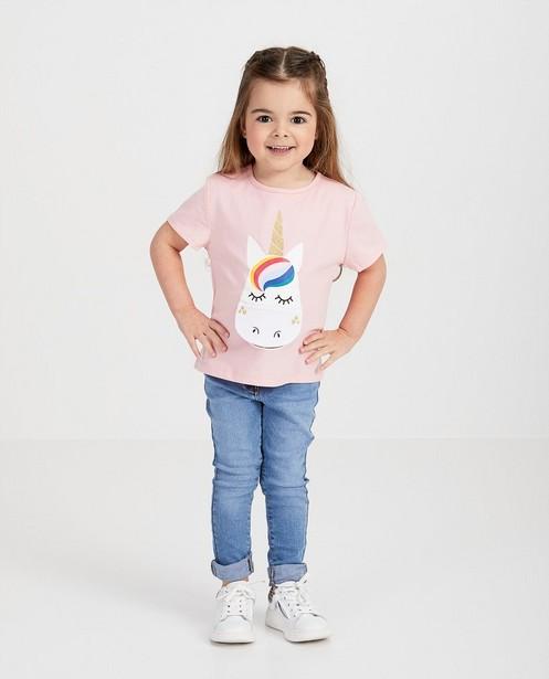 Roze verjaardag T-shirt met print - eenhoorn - Milla Star