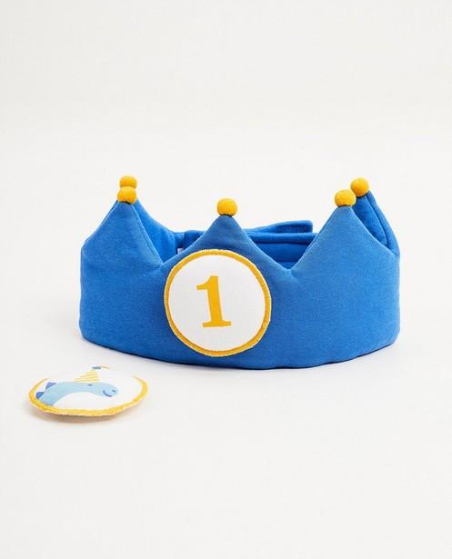 Blauwe verjaardagskroon, 1 jaar - met velcro - Cuddles and Smiles