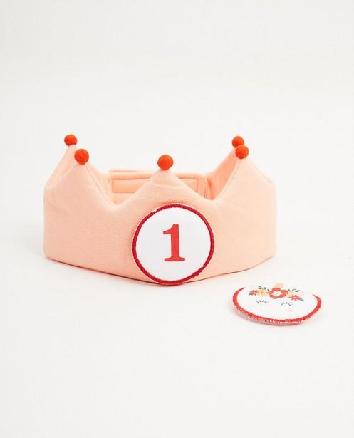 Couronne d'anniversaire, 1 an - rose, avec du velcro - Cuddles and Smiles