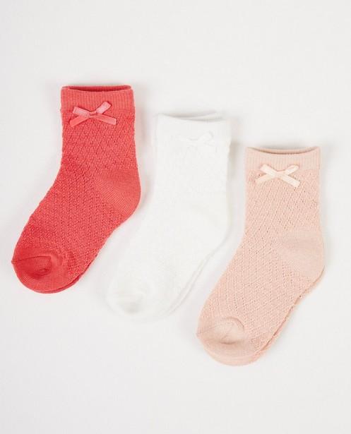 3 paires de chaussettes pour bébés - blanches et roses - JBC