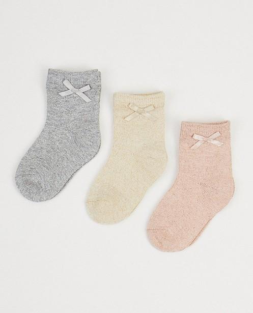 3 paires de chaussettes - fil métallisé et nœud - JBC